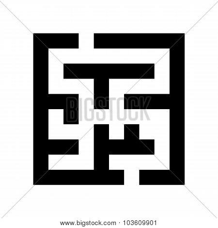 black maze icon isolated on white background