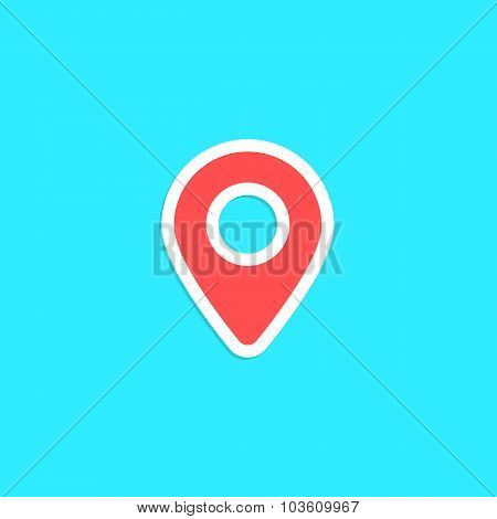 red pin sticker isolated on blue background