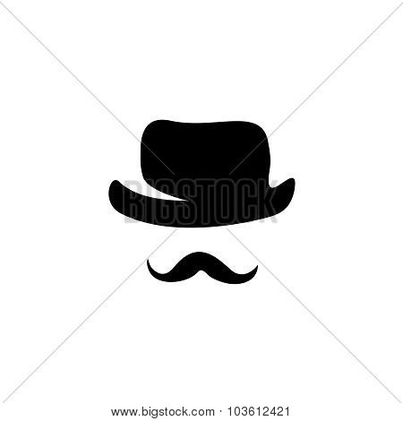 Retro Hat And Moustache Silhouettes