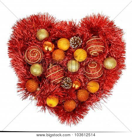 Red Heart Decoration Wit Christmas Toys