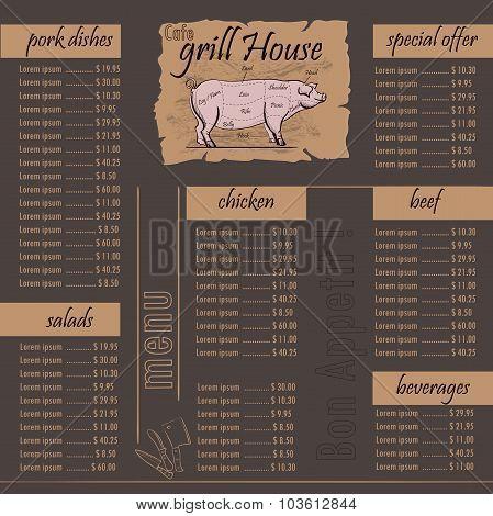 Cafe menu grill template