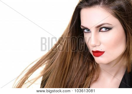 Sexy Beauty Woman with Red Lips and Long Hair. Provocative Make up. Fashion shot isolated on a white