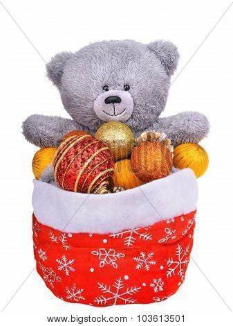 Teddy Bear In Santa Claus Bag Full Of Christmas Toys