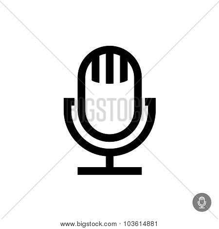 Microphone Vector Icon. Isolated On A White Background. Retro Style Table Mic.