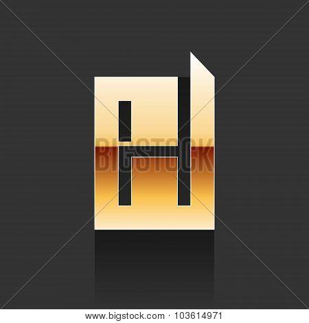 Vector Gold Letter H Shape Logo Element