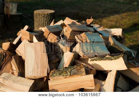 Stack Of Dry Chopped Firewood