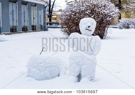 Snowman In Peter And Paul Fortress In Saint-petersburg