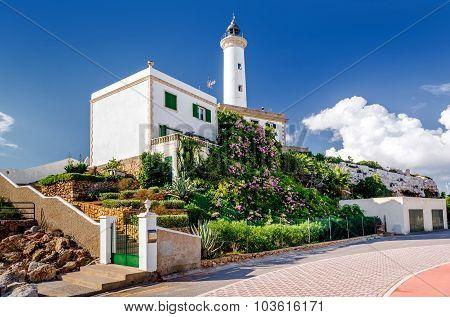 Faro De Botafoch Lighthouse In The Port Of Ibiza Town, Balearic Islands. Spain