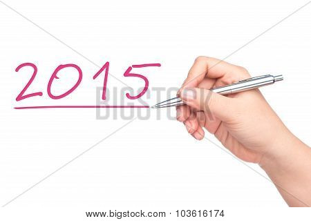 Concept or conceptual Happy New Year 2015. New Year 2015 word, hand writing with a pen on a transparent board