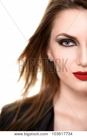 Sexy Beauty Woman with Red Lips. Provocative Make up. Close Fashion shot isolated on a white backgro