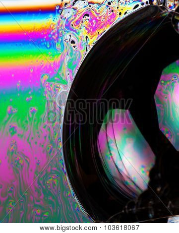 Abstract Vibrant Colorful Background And Soap Bubbles