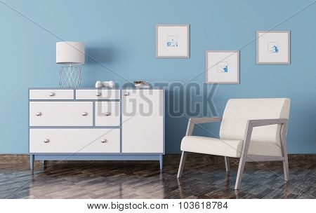 Interior Of A Room With Chest Of Drawers And Armchair 3D Render
