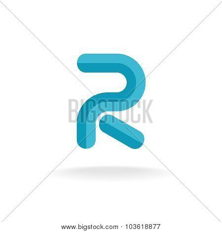 Letter R Logo. Flat Bevel Technical Style.