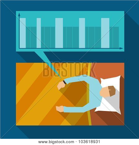 Sleep Tracking Flat Graphic Concept Illustration. Sleeping Man With A Bracelet.