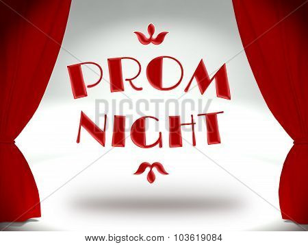 Prom Night On Theater Stage With Red Curtains