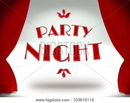 Party Night On Theater Stage With Red Curtains