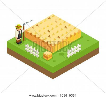 Isometric Farmer Scythe Wheat Field 3d Icon Symbol Meadow Background Flat Design Vector Illustration