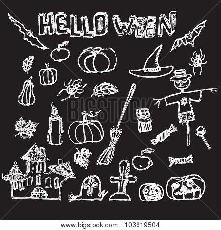 Hand drawn vector Halloween set.