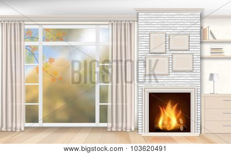 Interior With Fireplace Of White Brick