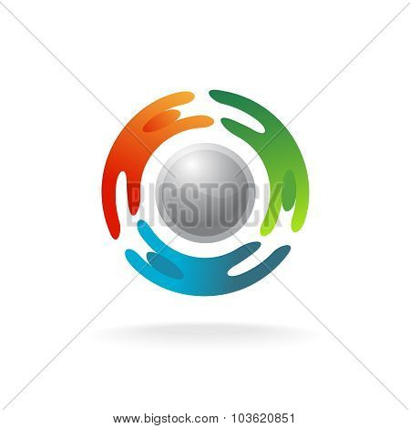 Social Communications Logo Template. Three People Silhouettes Around An Abstract Sphere.