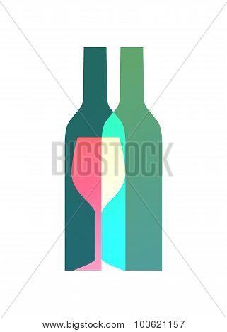 Wine bottles and glass symbol logo design.