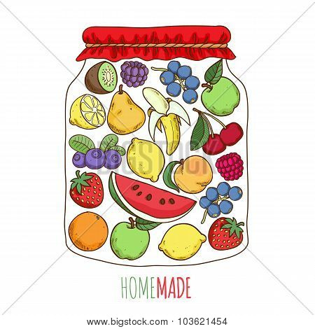 Home made fruit berry jam preserves conceptual illustration.