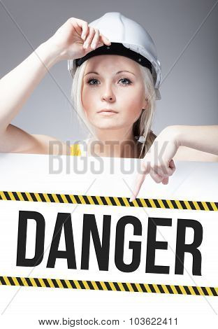 Danger Sign On Template Board, Worker Woman