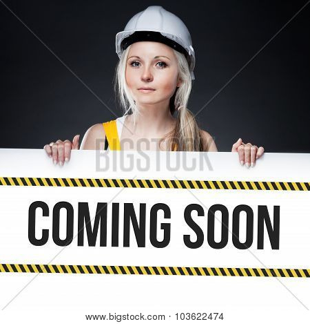 Coming Soon Sign On Template Board, Worker Woman