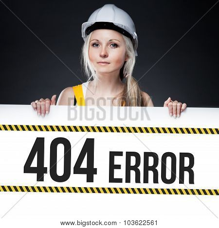 404 Error Sign On Template Board, Worker Woman