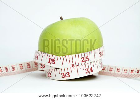 Fresh Apple With Measuring Tape