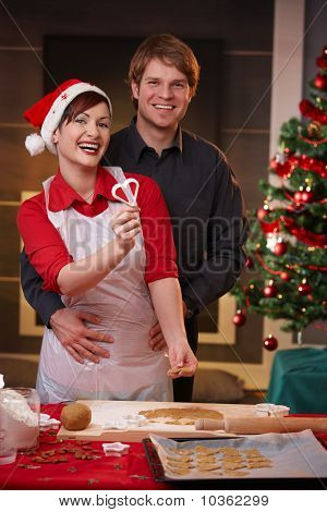 Portrait Of Happy Couple At Christmas