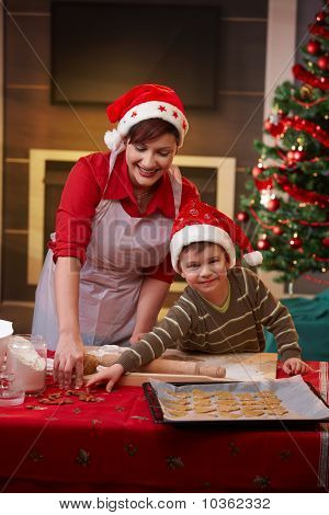 Mother And Son Baking Together For Christmas