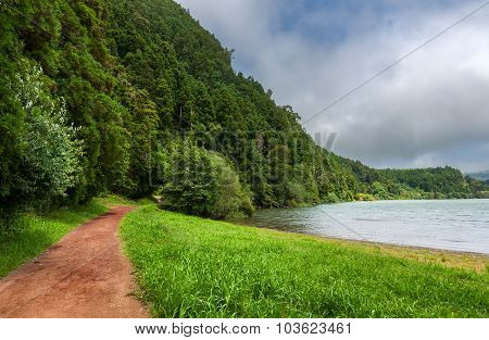Path Along Furnas Lake In Sao Miguel, Azores Islands