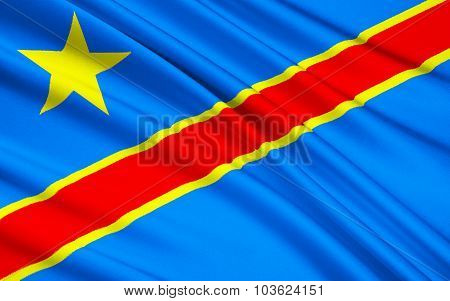 Flag Of Democratic Republic Of The Congo, Kinshasa