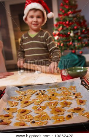 Portrait Of Small Kid Doing Christmas Baking