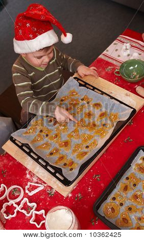 Small Boy With Christmas Cake