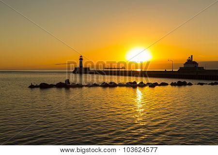 Duluth Lighthouses Sunrise