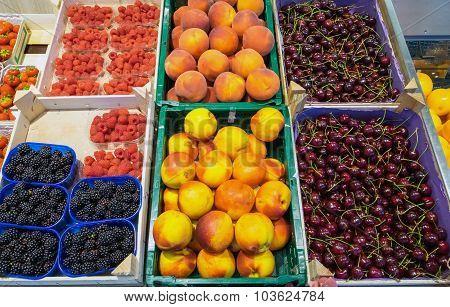 Peaches, cherries blackberries