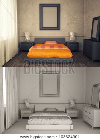 Interior Frame Mock-up - Bedroom