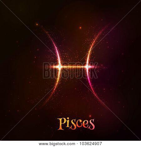 Shining neon zodiac Pisces vector symbol