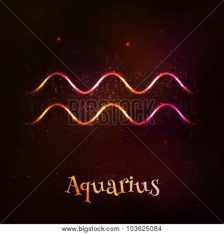 Shining neon zodiac Aquarius vector symbol