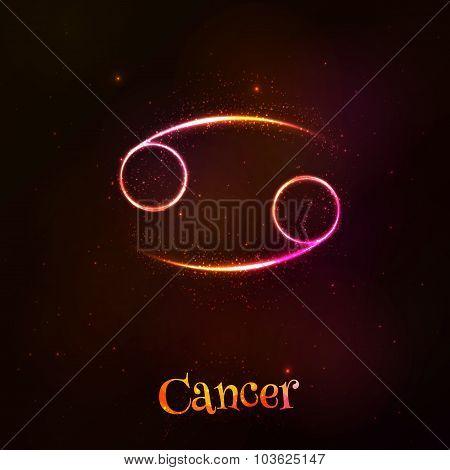 Shining neon zodiac Cancer vector symbol