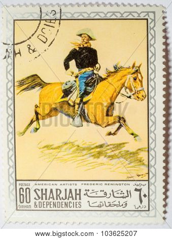 Sharjah And Dependencies - Circa 1972: Stamp Printed By Sharjah And Dependencies, Shows A Painting B