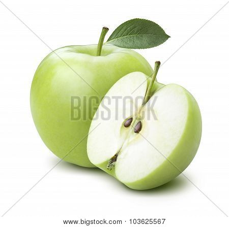 Green Cooking Apple And Half Isolated On White Background