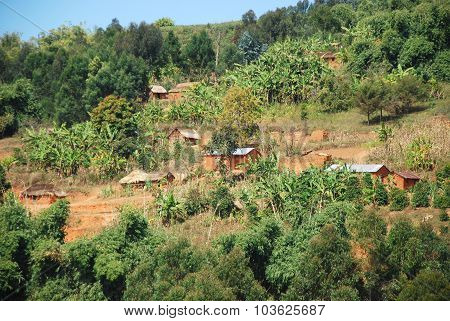 Houses Scattered On The Mountain Of Kilolo, Tanzania, Africa