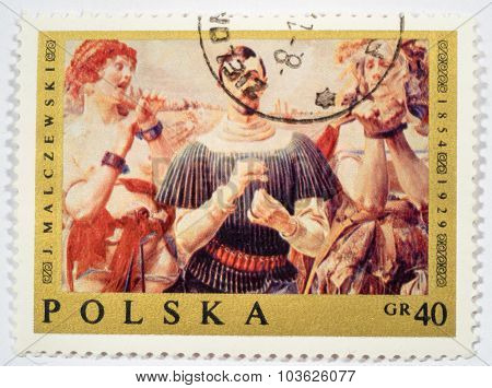 Moscow, Russia - October 3, 2015: A Stamp Printed In Poland Shows Hamlet Polish By Jacek Malczewski,