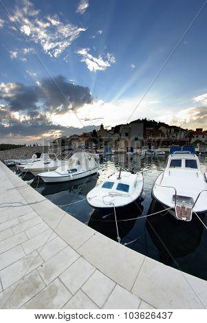 Old Harbor Or Marina And Stone Houses, Croatia Dalmatia