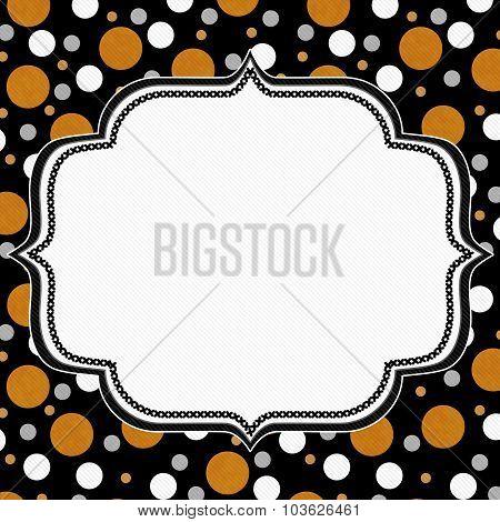 Orange, White And Black Polka Dot Frame Background