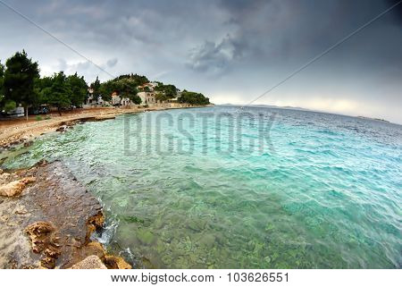 View Of The Bay And Old Town On Hill With Cloudy Sky, Croatia Dalmatia