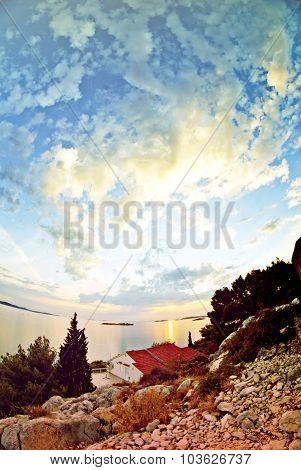 Panorama Of Coast, Islands And Clouds On Sky, Croatia Dalmatia